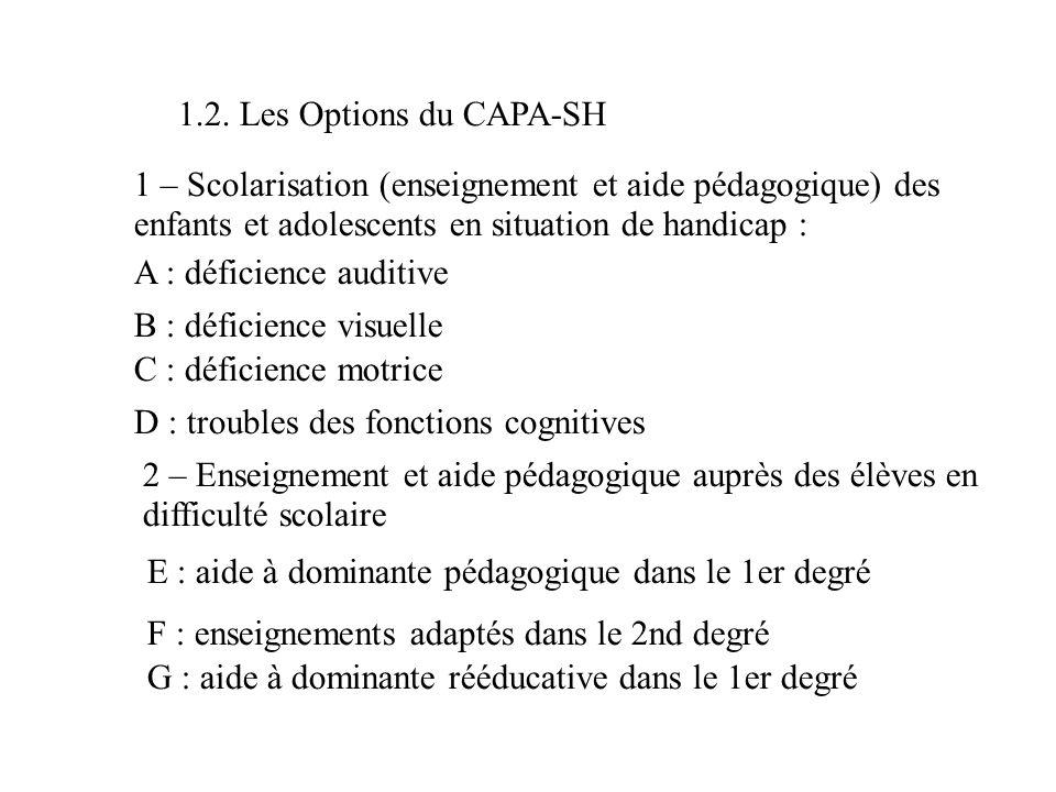 1.2. Les Options du CAPA-SH 1 – Scolarisation (enseignement et aide pédagogique) des enfants et adolescents en situation de handicap : A : déficience