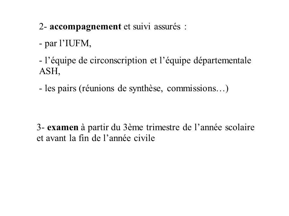 2- accompagnement et suivi assurés : - par lIUFM, - léquipe de circonscription et léquipe départementale ASH, - les pairs (réunions de synthèse, commi