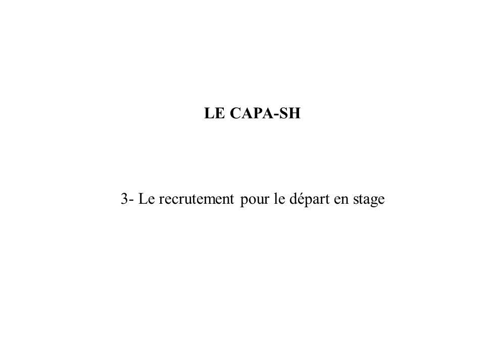 LE CAPA-SH 3- Le recrutement pour le départ en stage