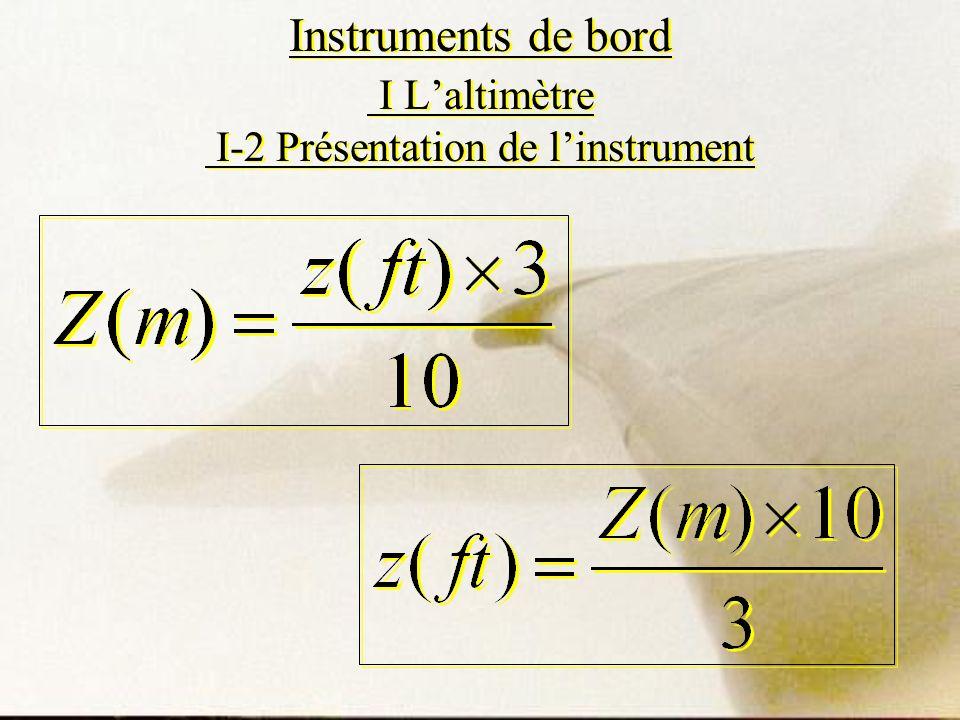 Instruments de bord I Laltimètre I-2 Présentation de linstrument
