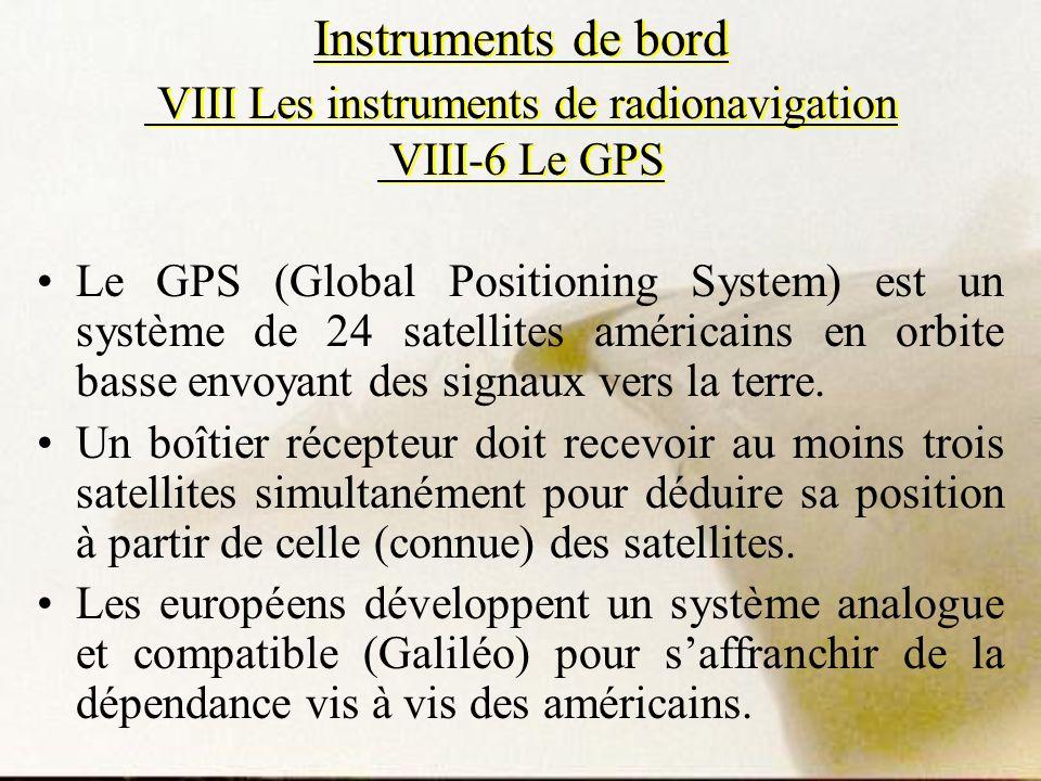 Instruments de bord VIII Les instruments de radionavigation VIII-6 Le GPS Le GPS (Global Positioning System) est un système de 24 satellites américain