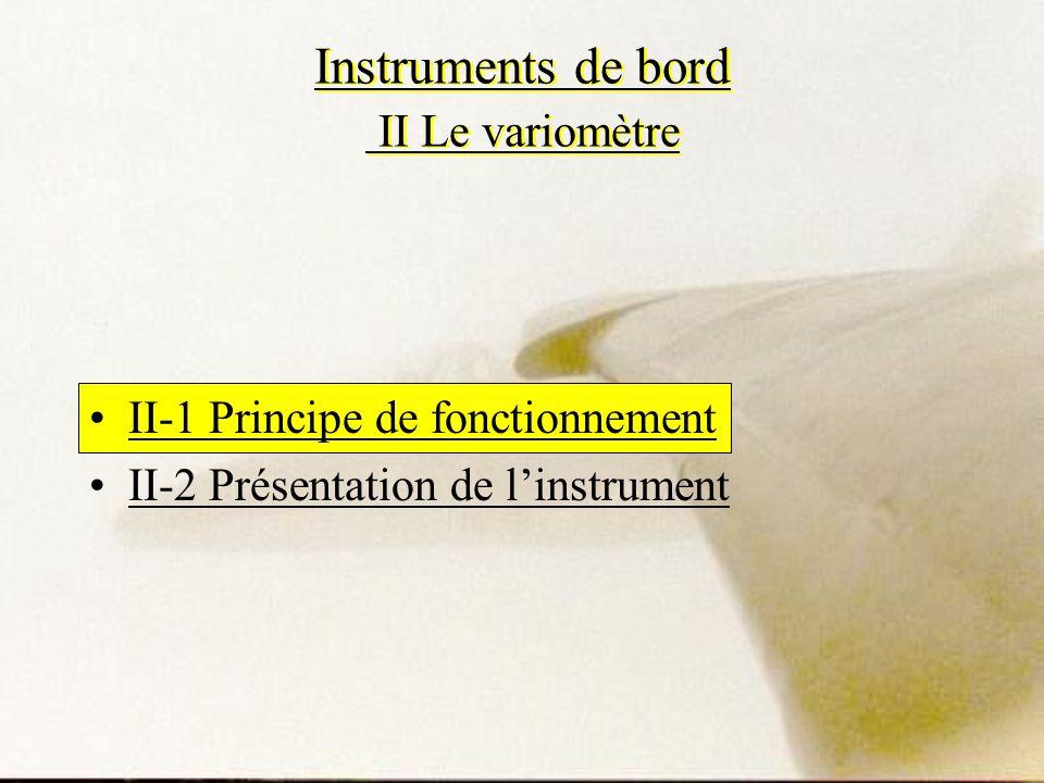 Instruments de bord II Le variomètre II-1 Principe de fonctionnement II-2 Présentation de linstrument