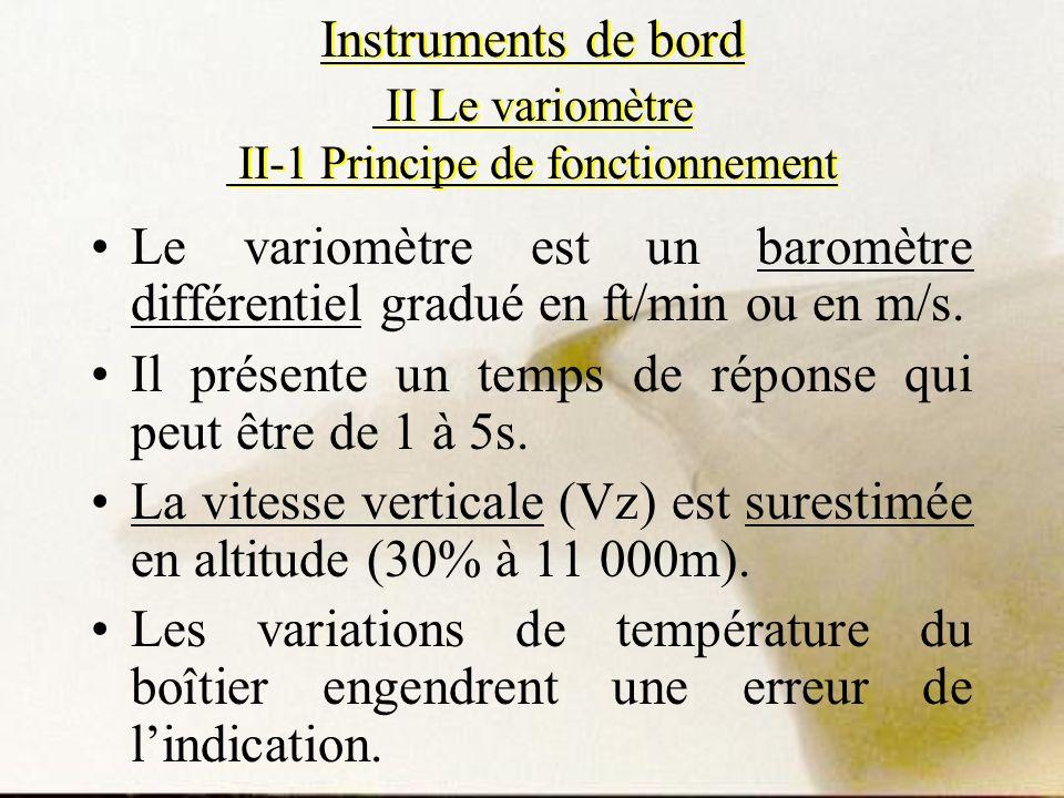 Le variomètre est un baromètre différentiel gradué en ft/min ou en m/s. Il présente un temps de réponse qui peut être de 1 à 5s. La vitesse verticale