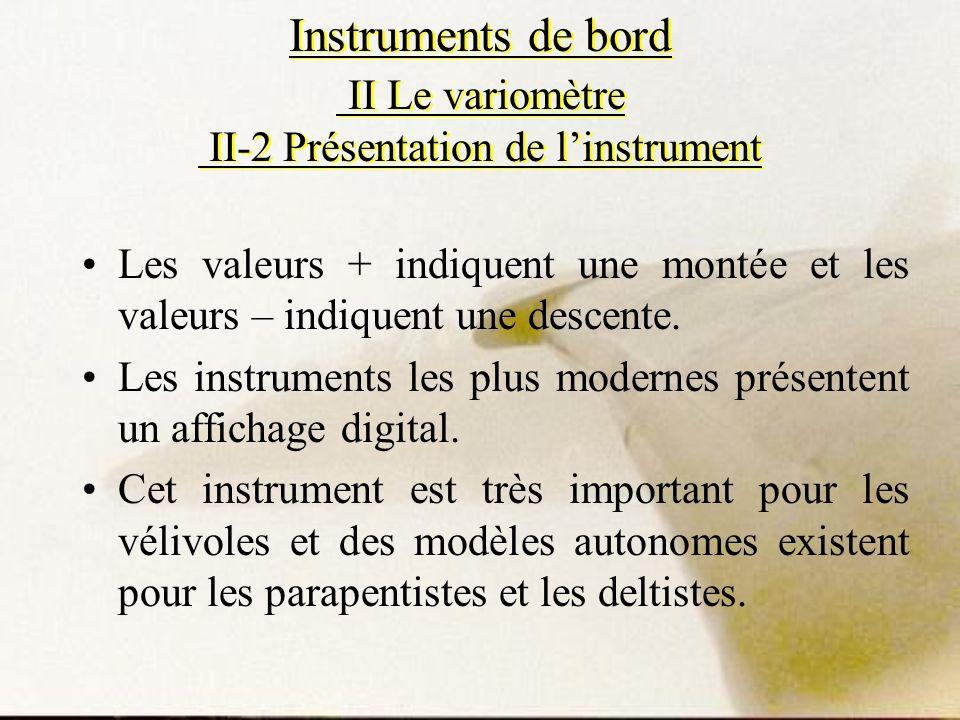Les valeurs + indiquent une montée et les valeurs – indiquent une descente. Les instruments les plus modernes présentent un affichage digital. Cet ins