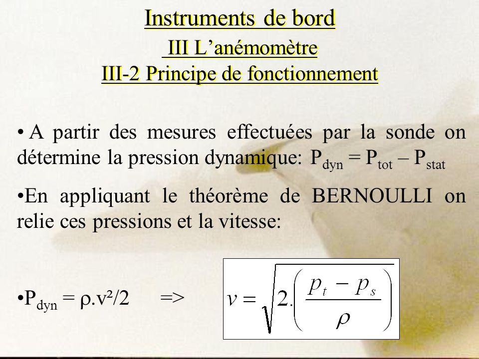 Instruments de bord III Lanémomètre III-2 Principe de fonctionnement A partir des mesures effectuées par la sonde on détermine la pression dynamique: