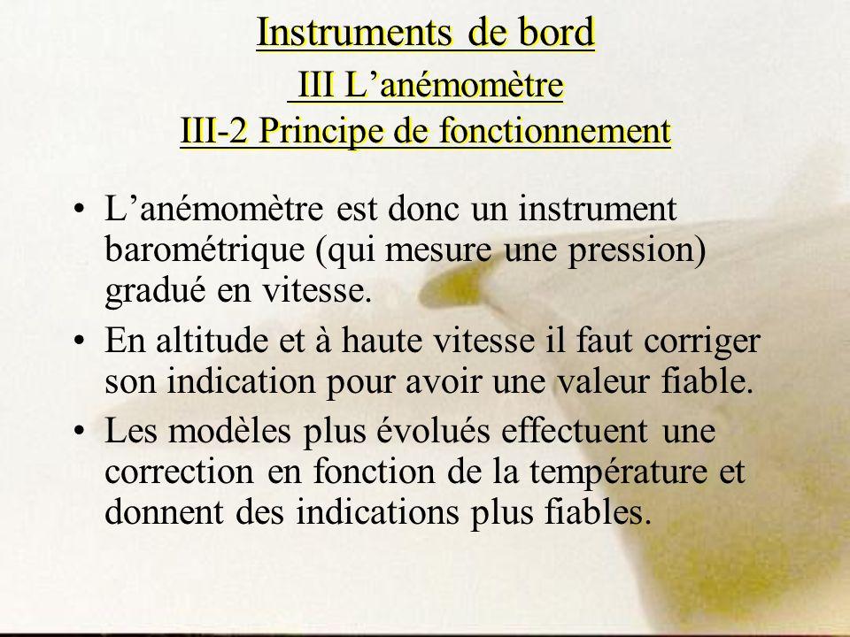 Instruments de bord III Lanémomètre III-2 Principe de fonctionnement Lanémomètre est donc un instrument barométrique (qui mesure une pression) gradué