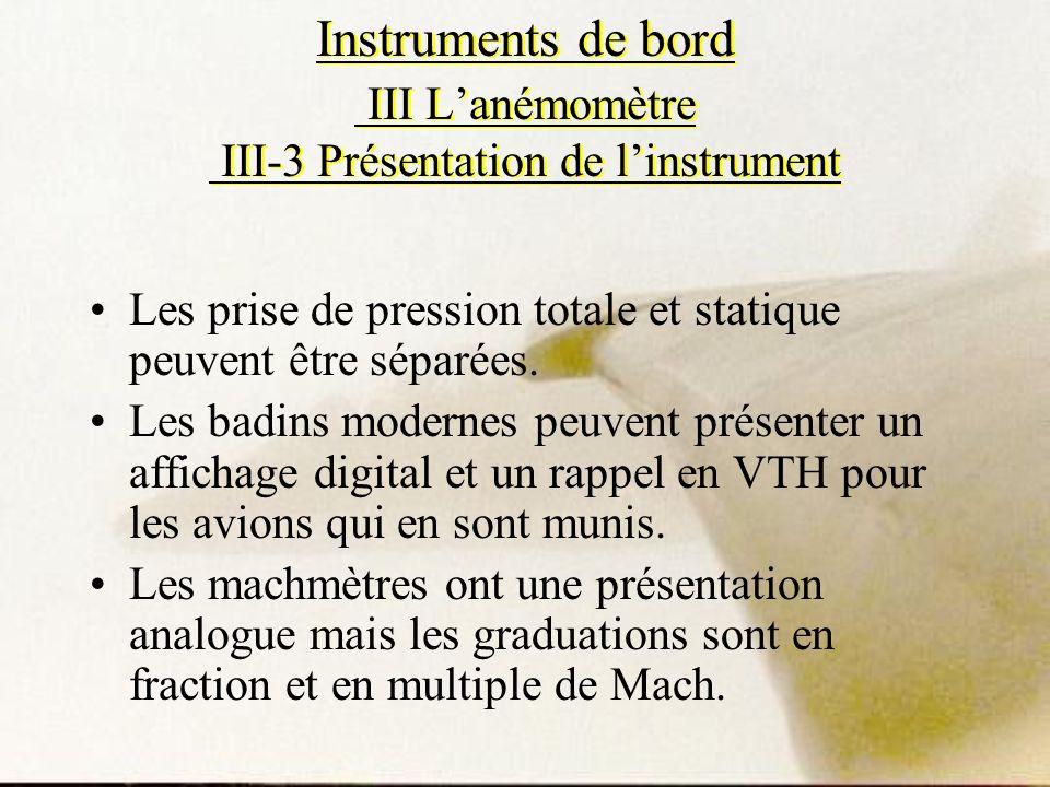 Instruments de bord III Lanémomètre III-3 Présentation de linstrument Les prise de pression totale et statique peuvent être séparées. Les badins moder