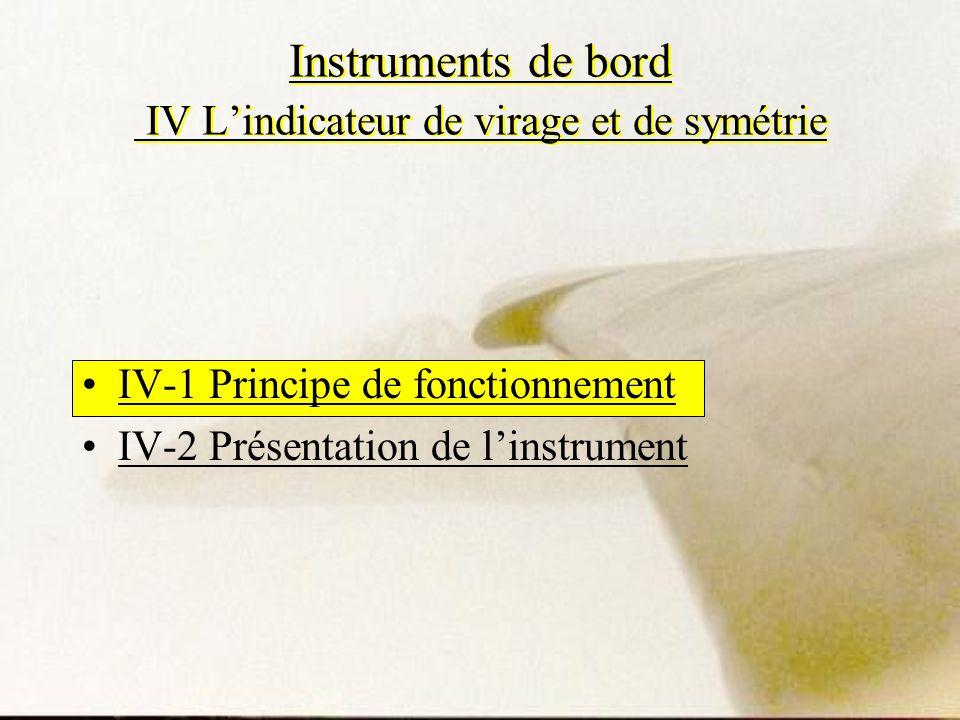 Instruments de bord IV Lindicateur de virage et de symétrie IV-1 Principe de fonctionnement IV-2 Présentation de linstrument
