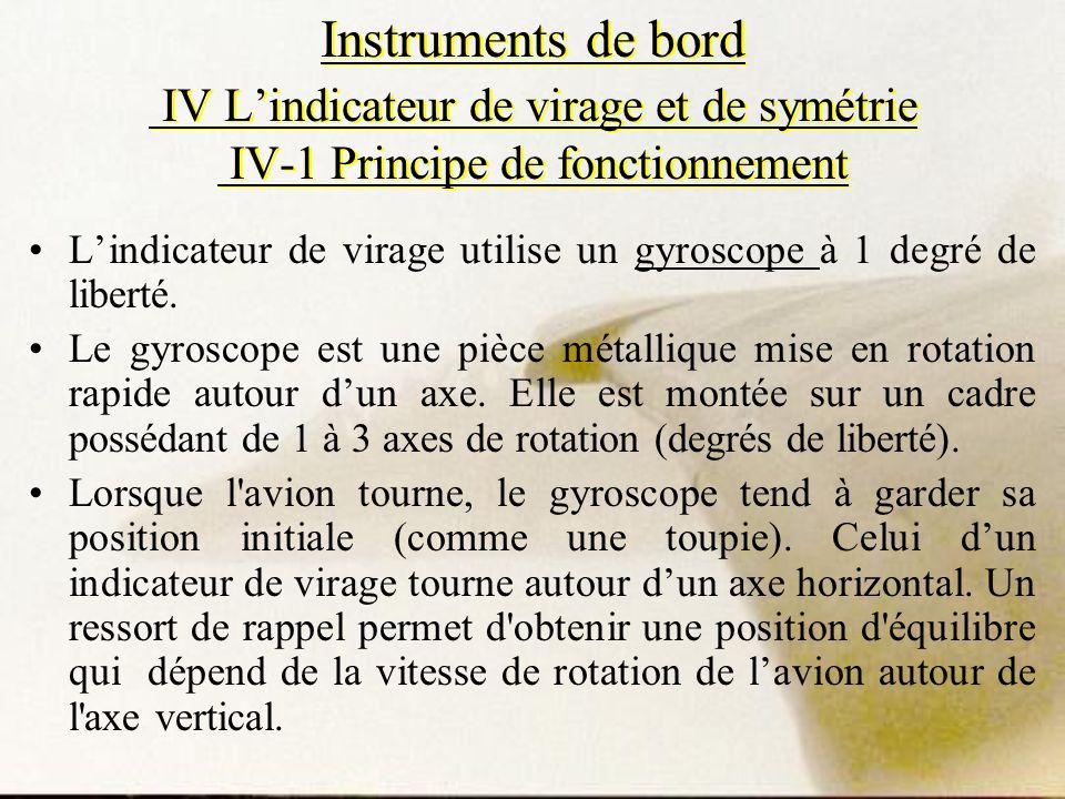 Instruments de bord IV Lindicateur de virage et de symétrie IV-1 Principe de fonctionnement Lindicateur de virage utilise un gyroscope à 1 degré de li