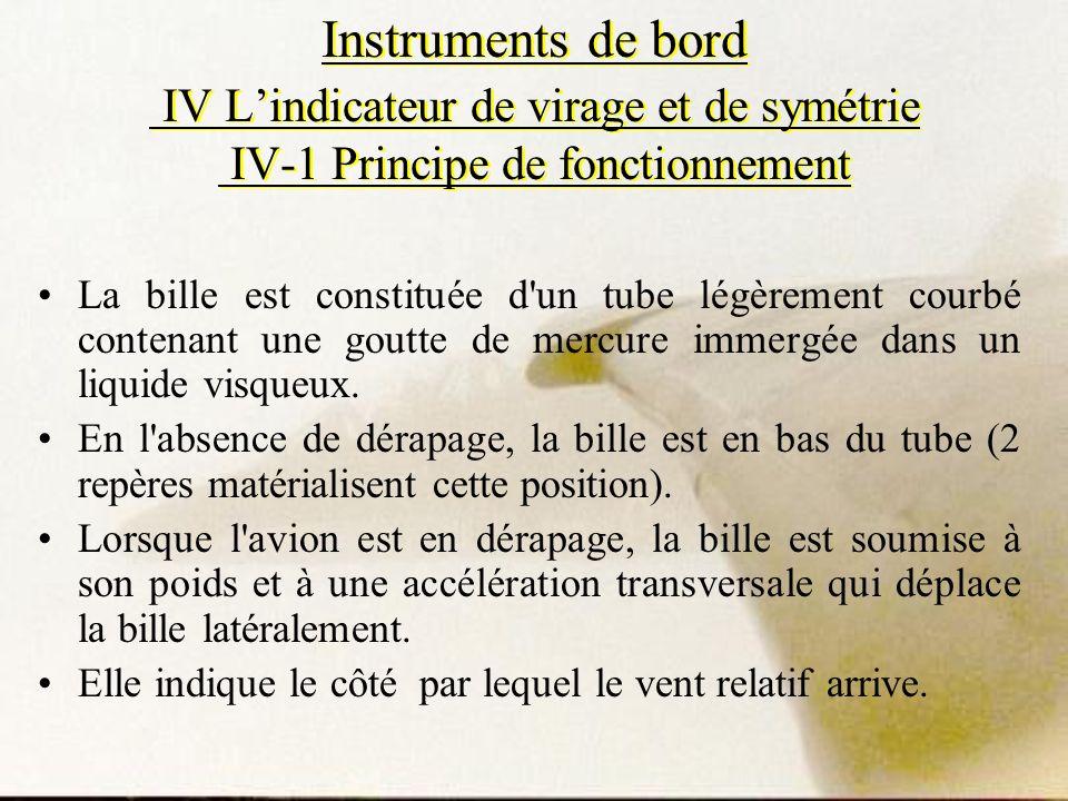 Instruments de bord IV Lindicateur de virage et de symétrie IV-1 Principe de fonctionnement La bille est constituée d'un tube légèrement courbé conten