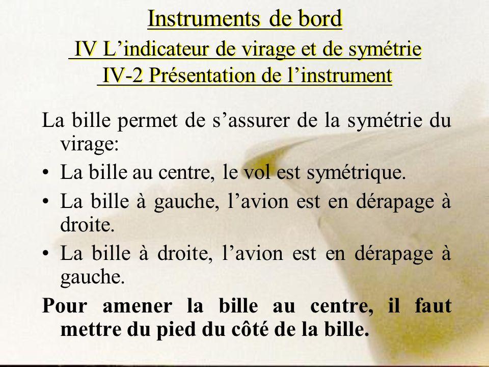 Instruments de bord IV Lindicateur de virage et de symétrie IV-2 Présentation de linstrument La bille permet de sassurer de la symétrie du virage: La