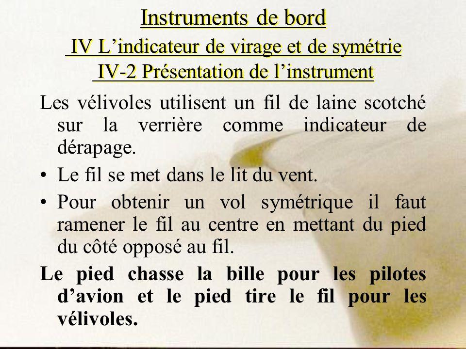 Instruments de bord IV Lindicateur de virage et de symétrie IV-2 Présentation de linstrument Les vélivoles utilisent un fil de laine scotché sur la ve