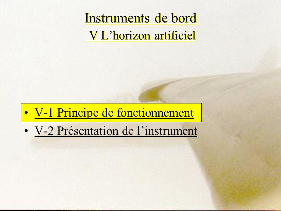 Instruments de bord V Lhorizon artificiel V-1 Principe de fonctionnement V-2 Présentation de linstrument