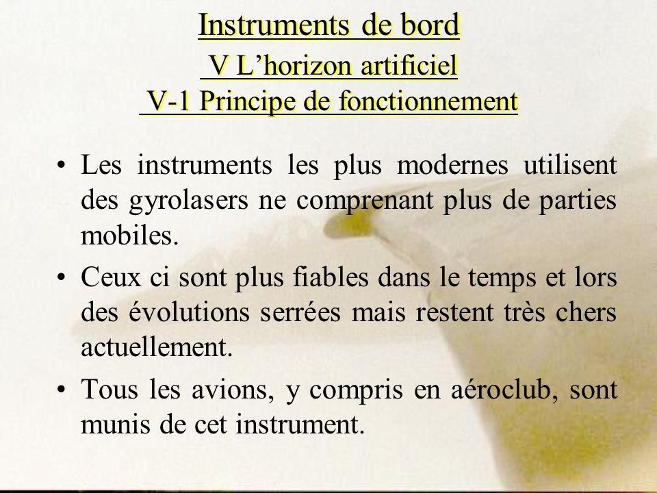 Instruments de bord V Lhorizon artificiel V-1 Principe de fonctionnement Les instruments les plus modernes utilisent des gyrolasers ne comprenant plus
