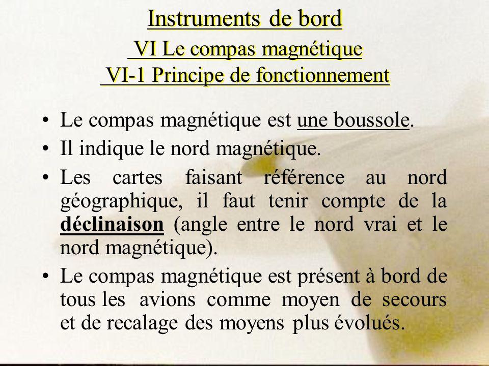 Instruments de bord VI Le compas magnétique VI-1 Principe de fonctionnement Le compas magnétique est une boussole. Il indique le nord magnétique. Les