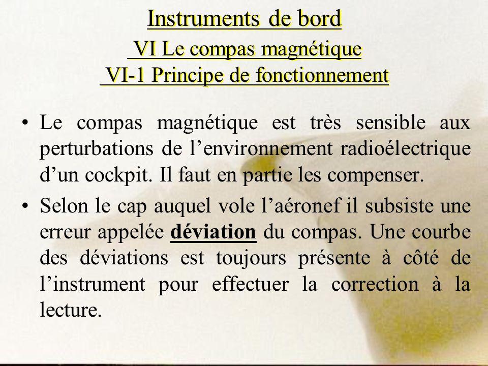 Instruments de bord VI Le compas magnétique VI-1 Principe de fonctionnement Le compas magnétique est très sensible aux perturbations de lenvironnement