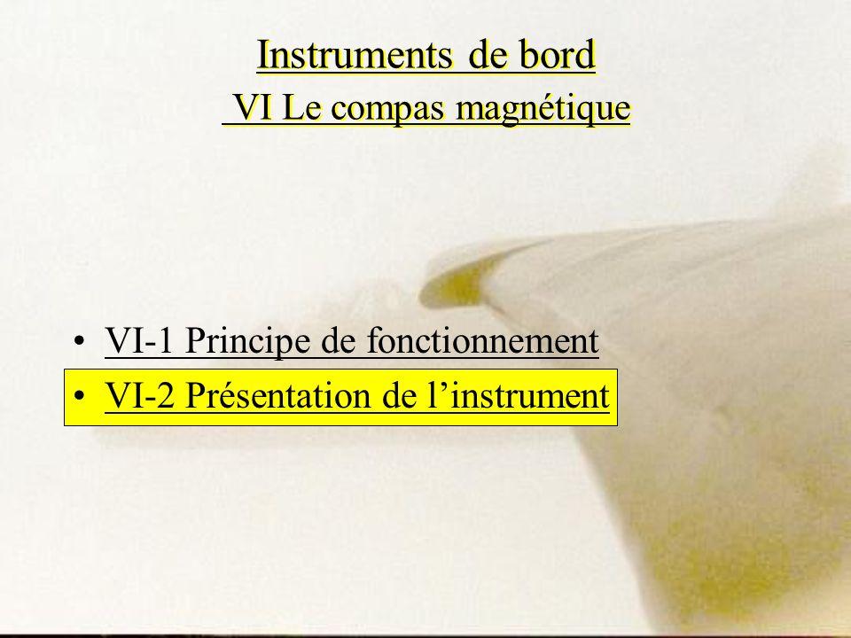 Instruments de bord VI Le compas magnétique VI-1 Principe de fonctionnement VI-2 Présentation de linstrument