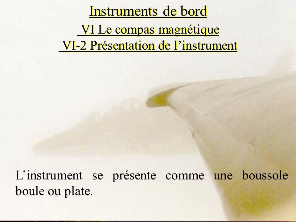 Instruments de bord VI Le compas magnétique VI-2 Présentation de linstrument Linstrument se présente comme une boussole boule ou plate.