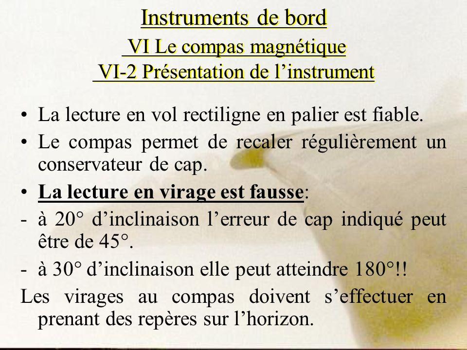 Instruments de bord VI Le compas magnétique VI-2 Présentation de linstrument La lecture en vol rectiligne en palier est fiable. Le compas permet de re