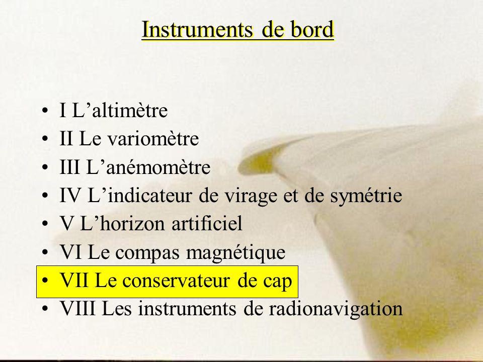 Instruments de bord I Laltimètre II Le variomètre III Lanémomètre IV Lindicateur de virage et de symétrie V Lhorizon artificiel VI Le compas magnétiqu