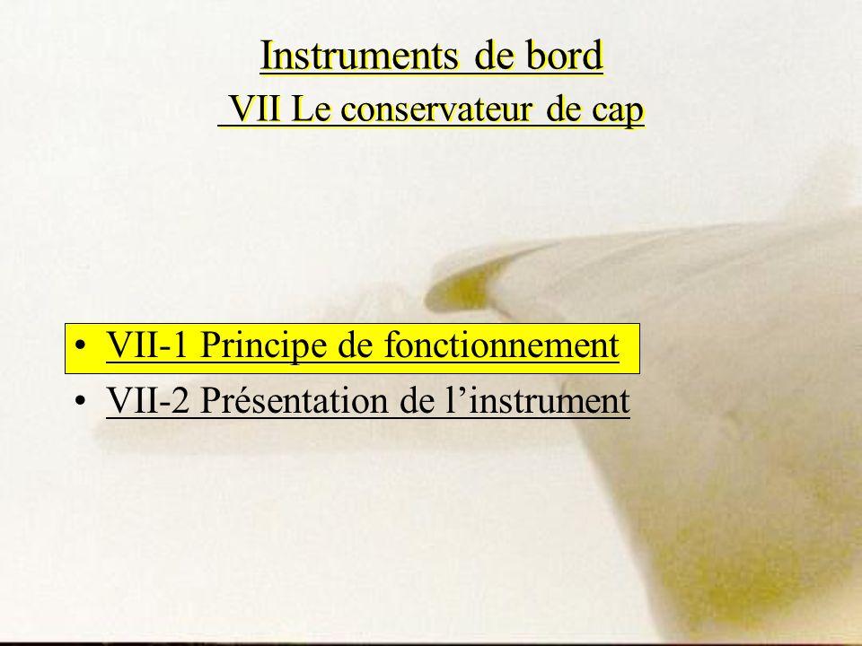 Instruments de bord VII Le conservateur de cap VII-1 Principe de fonctionnement VII-2 Présentation de linstrument