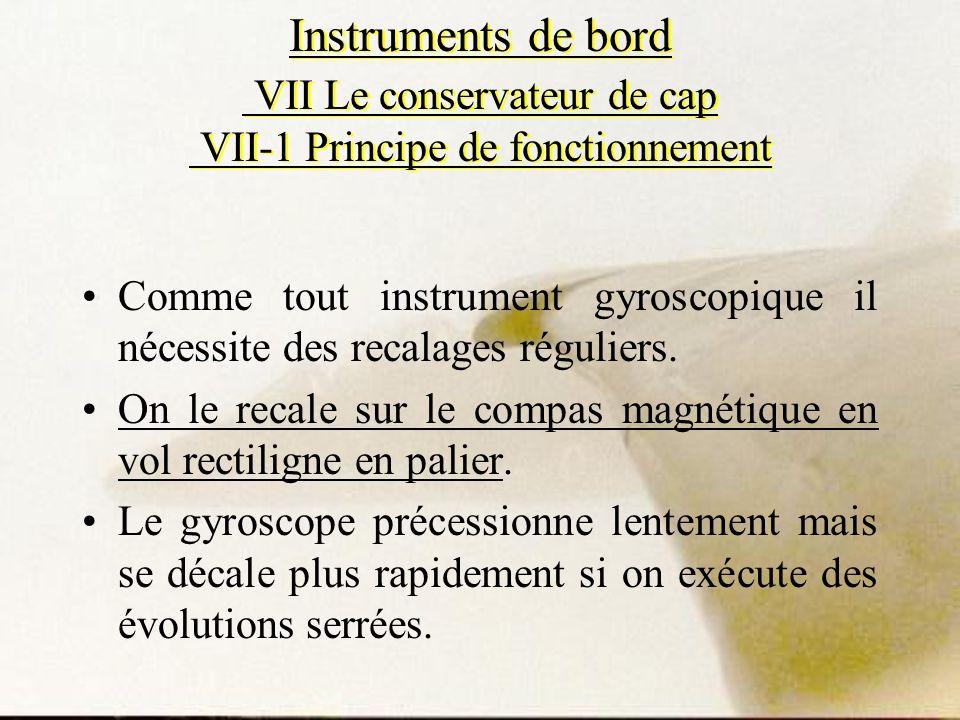 Instruments de bord VII Le conservateur de cap VII-1 Principe de fonctionnement Comme tout instrument gyroscopique il nécessite des recalages régulier