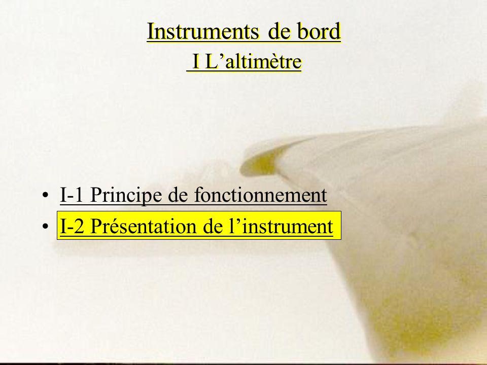 Instruments de bord I Laltimètre I-1 Principe de fonctionnement I-2 Présentation de linstrument