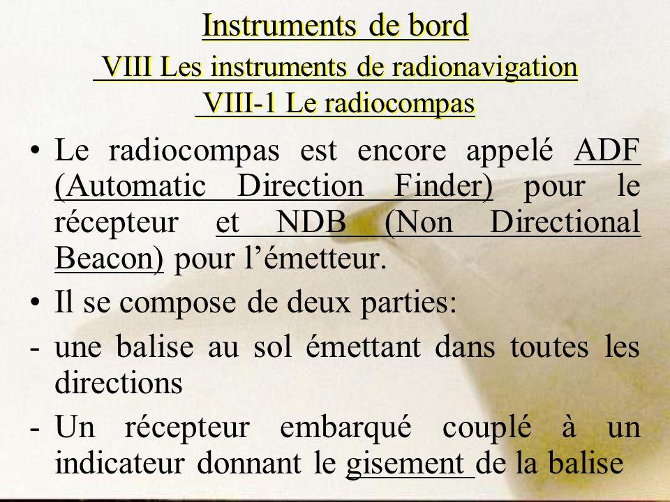 Instruments de bord VIII Les instruments de radionavigation VIII-1 Le radiocompas Le radiocompas est encore appelé ADF (Automatic Direction Finder) po