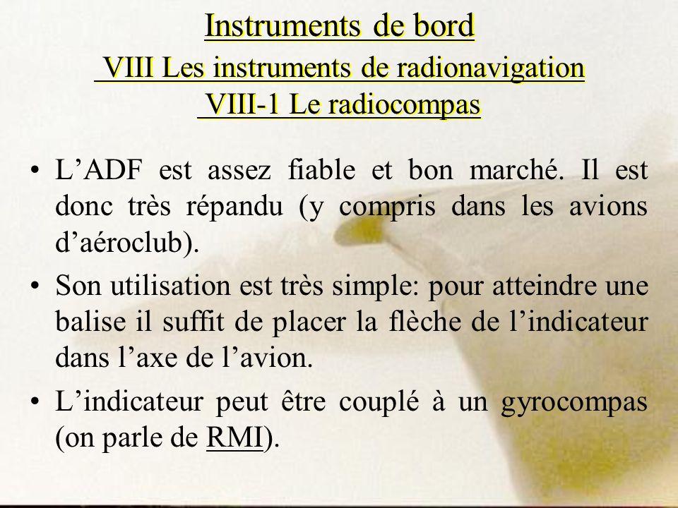 Instruments de bord VIII Les instruments de radionavigation VIII-1 Le radiocompas LADF est assez fiable et bon marché. Il est donc très répandu (y com
