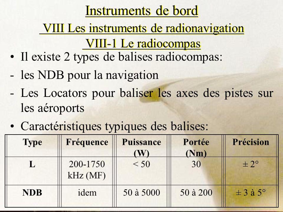 Instruments de bord VIII Les instruments de radionavigation VIII-1 Le radiocompas Il existe 2 types de balises radiocompas: -les NDB pour la navigatio
