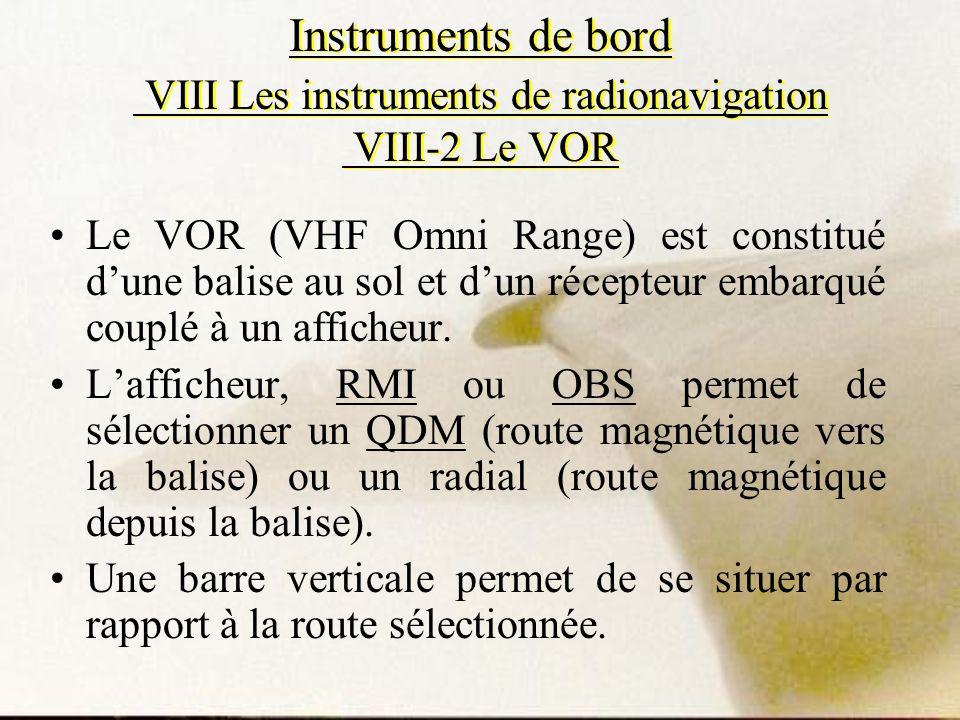 Instruments de bord VIII Les instruments de radionavigation VIII-2 Le VOR Le VOR (VHF Omni Range) est constitué dune balise au sol et dun récepteur em