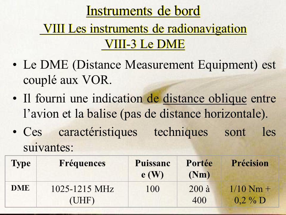 Instruments de bord VIII Les instruments de radionavigation VIII-3 Le DME Le DME (Distance Measurement Equipment) est couplé aux VOR. Il fourni une in