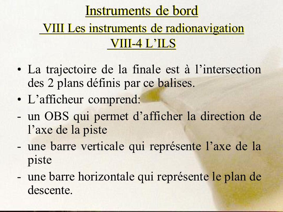 Instruments de bord VIII Les instruments de radionavigation VIII-4 LILS La trajectoire de la finale est à lintersection des 2 plans définis par ce bal