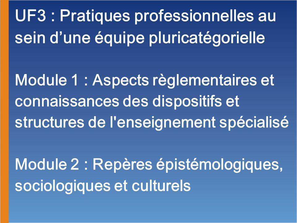 UF3 : Pratiques professionnelles au sein dune équipe pluricatégorielle Module 1 : Aspects règlementaires et connaissances des dispositifs et structure