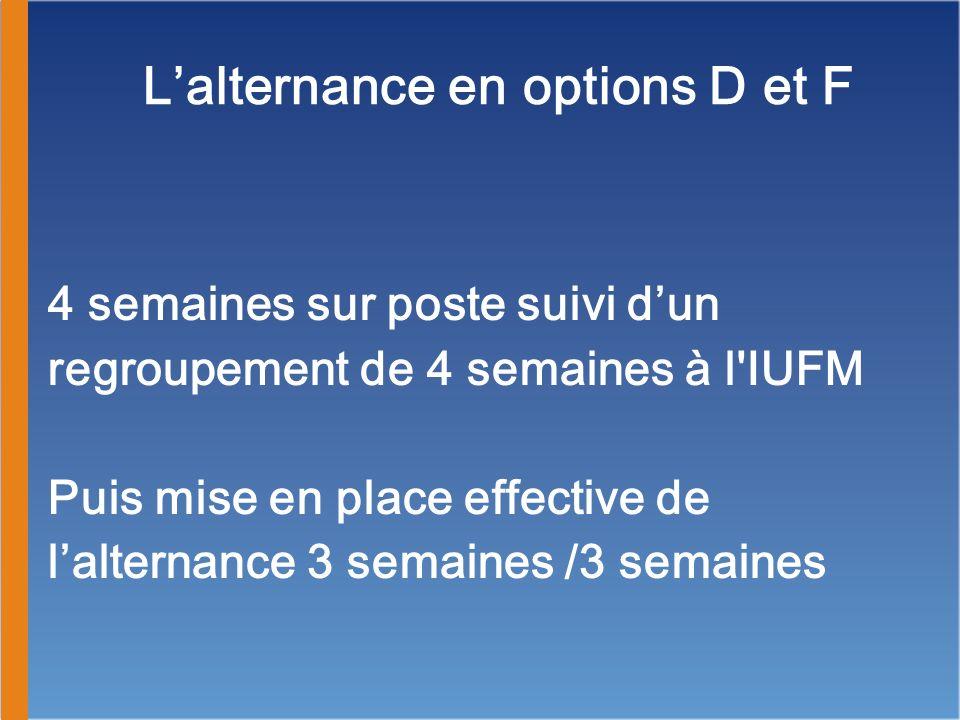 Lalternance en options D et F 4 semaines sur poste suivi dun regroupement de 4 semaines à l'IUFM Puis mise en place effective de lalternance 3 semaine
