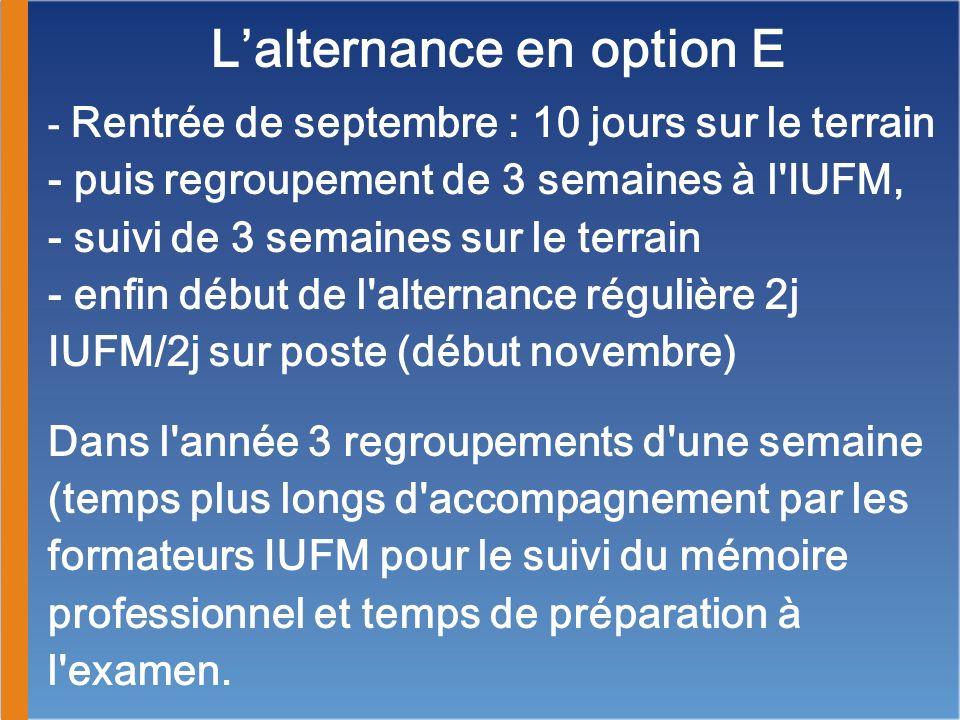 Lalternance en option E - Rentrée de septembre : 10 jours sur le terrain - puis regroupement de 3 semaines à l'IUFM, - suivi de 3 semaines sur le terr