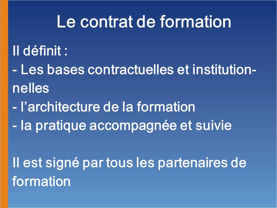 Le contrat de formation Il définit : - Les bases contractuelles et institution- nelles - larchitecture de la formation - la pratique accompagnée et su