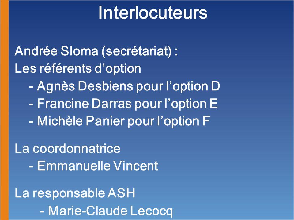 Interlocuteurs Andrée Sloma (secrétariat) : Les référents doption - Agnès Desbiens pour loption D - Francine Darras pour loption E - Michèle Panier po