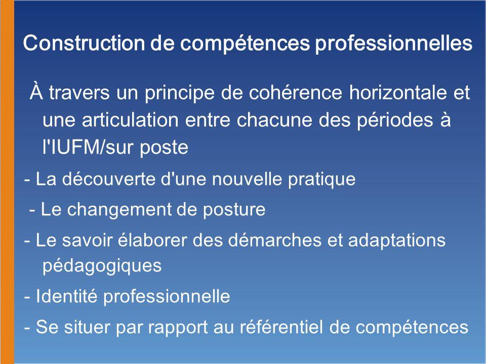 À travers un principe de cohérence verticale et une articulation entre différentes composantes : - la dynamique de la formation - les objectifs de formation professionnelle en rapport avec la pratique - les objectifs de formation professionnelle dans l institution et dans une équipe pluricatégorielle - la construction et la régulation du parcours de formation - le mémoire professionnel Construction de compétences professionnelles