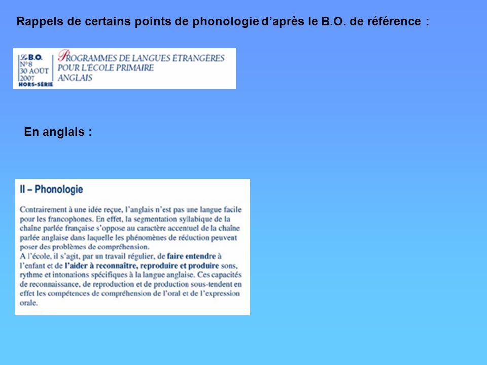 Rappels de certains points de phonologie daprès le B.O. de référence : En anglais :