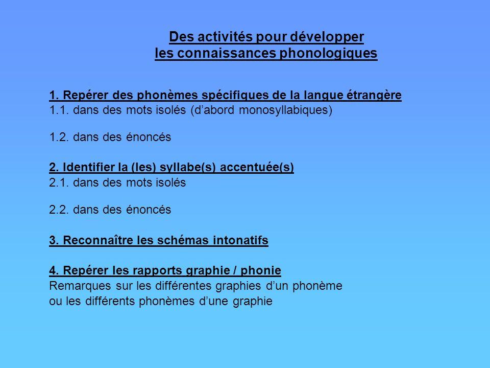 Des activités pour développer les connaissances phonologiques 1. Repérer des phonèmes spécifiques de la langue étrangère 1.1. dans des mots isolés (da
