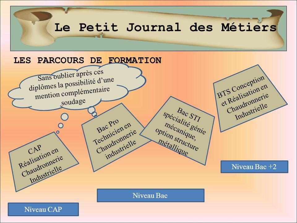 Le Petit Journal des Métiers LES PARCOURS DE FORMATION Niveau CAP Niveau Bac Niveau Bac +2 Bac Pro Technicien en Chaudronnerie industrielle Bac STI sp