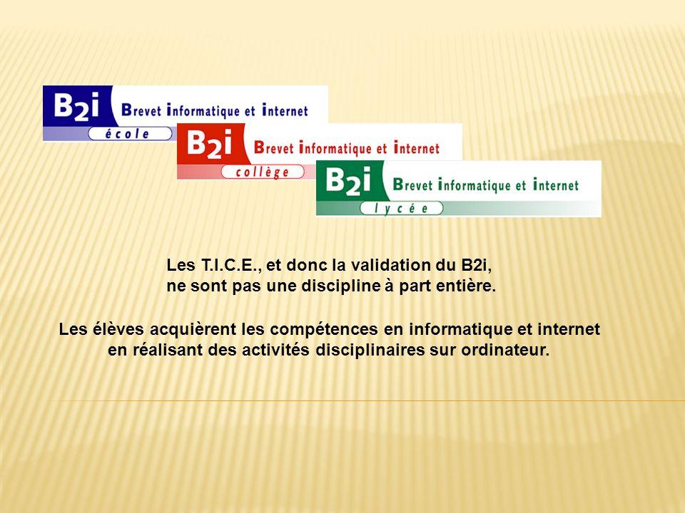 Les T.I.C.E., et donc la validation du B2i, ne sont pas une discipline à part entière.