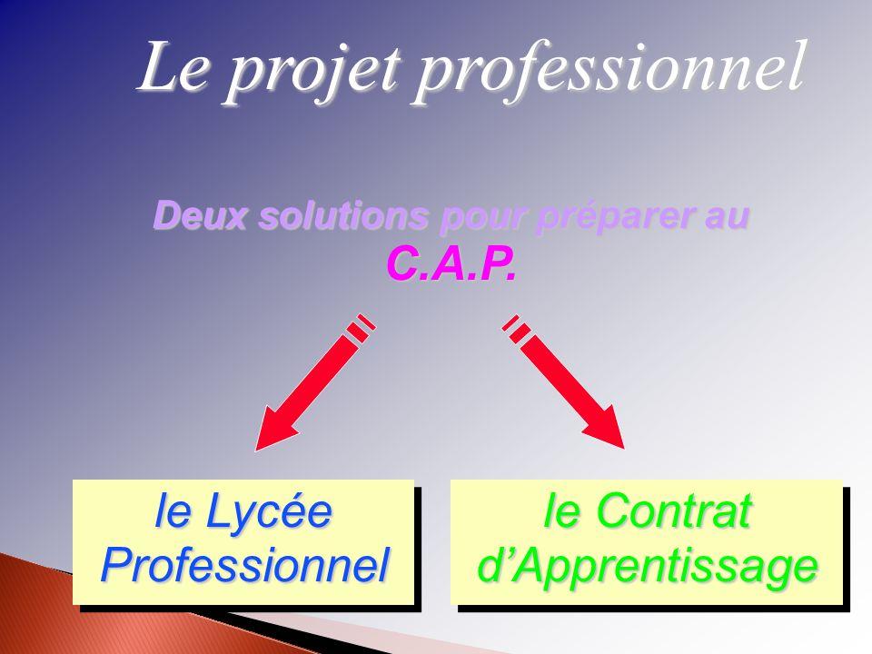 Le projet professionnel Deux solutions pour préparer au C.A.P. le Lycée Professionnel le Contrat dApprentissage