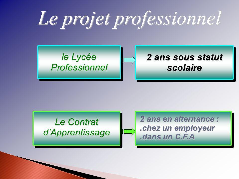 Le projet professionnel le Lycée Professionnel Le Contrat dApprentissage 2 ans sous statut scolaire 2 ans en alternance :.chez un employeur.dans un C.