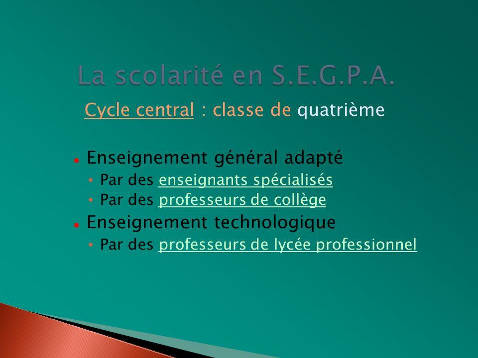 Cycle central : classe de quatrième Enseignement général adapté Par des enseignants spécialisés Par des professeurs de collège Enseignement technologi