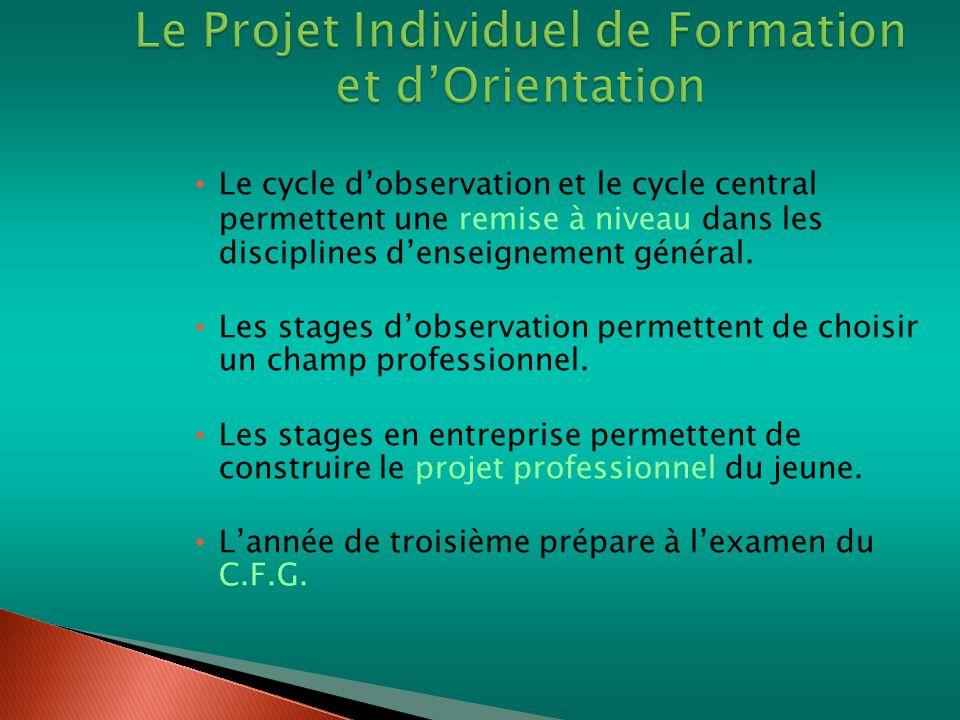 Le cycle dobservation et le cycle central permettent une remise à niveau dans les disciplines denseignement général. Les stages dobservation permetten