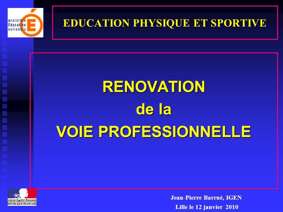EDUCATION PHYSIQUE ET SPORTIVE RENOVATION de la VOIE PROFESSIONNELLE Jean-Pierre Barrué, IGEN Lille le 12 janvier 2010