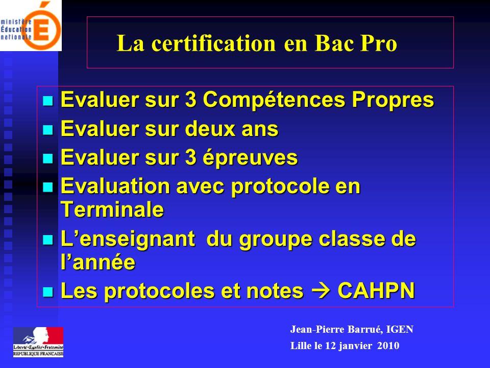 La certification en Bac Pro Evaluer sur 3 Compétences Propres Evaluer sur 3 Compétences Propres Evaluer sur deux ans Evaluer sur deux ans Evaluer sur