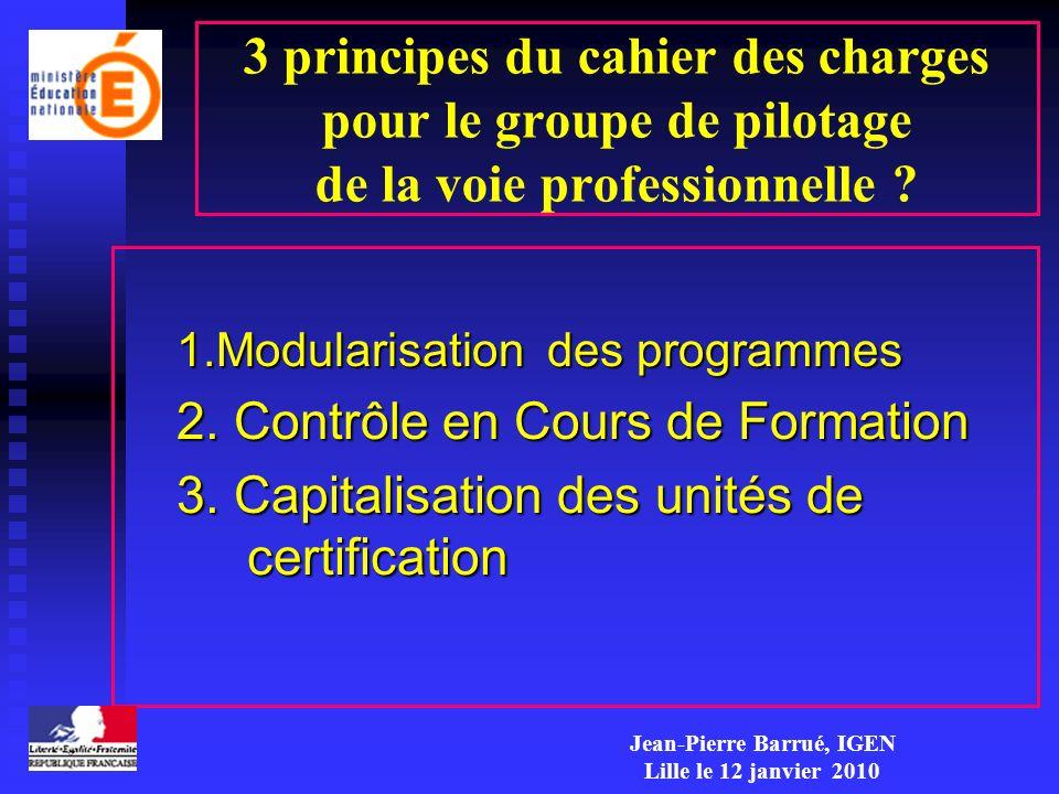 3 principes du cahier des charges pour le groupe de pilotage de la voie professionnelle ? 1.Modularisation des programmes 2. Contrôle en Cours de Form